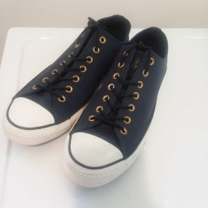 NAVY BLUE LEATHER CONVERSE ALL STAR LO TOP, 11.5